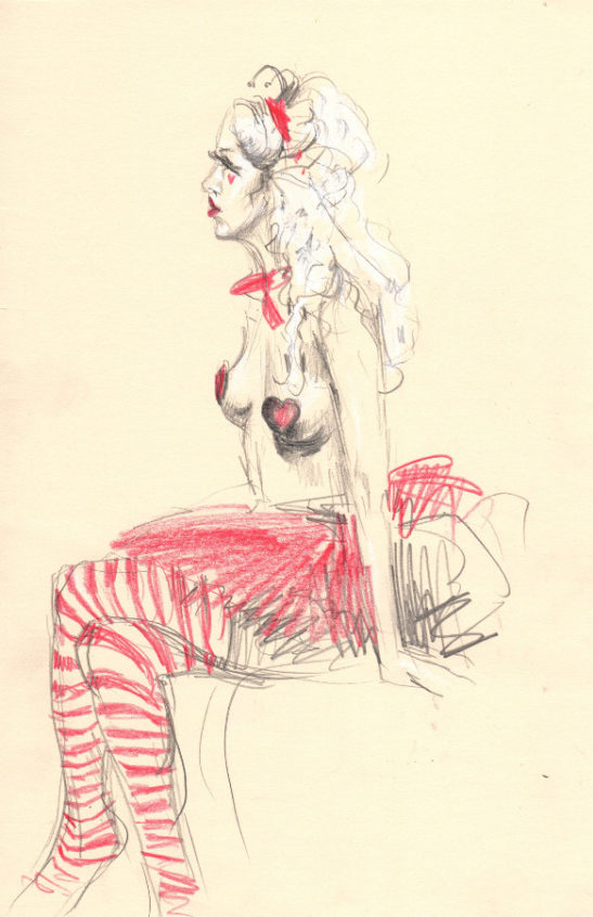 the queen of hearts ii coloured pencil