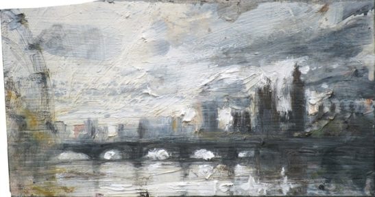 the thames from the golden jubilee bridge23 x 13 cm