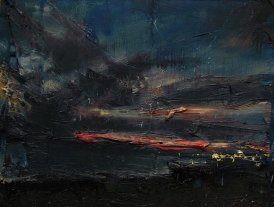 towards shoreham evening  oil on board 28 x 21cm