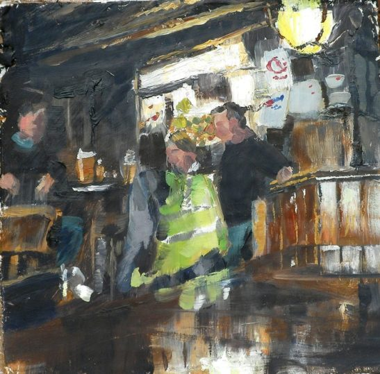 tuesday afternoon in the pub 18 x 18 cm