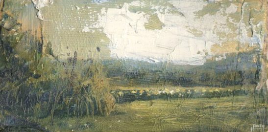 view from frensham heights 23x13 cm