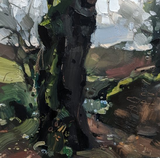 A Tree in Parracombe 20 x 20 cm oil on board