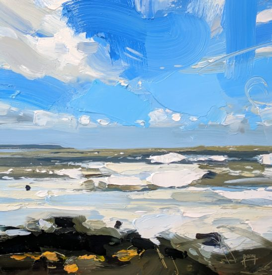 After a Storm Abbotsham Cliffs 20 x 20 cm oil on board