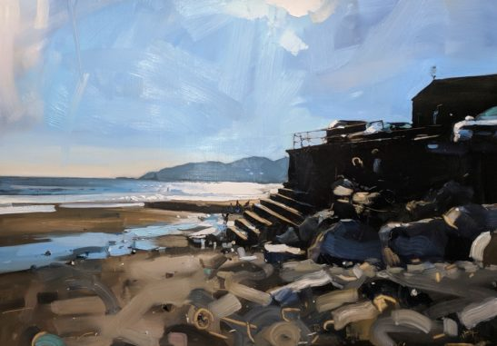 Charmouth Beach 100 x 70 cm oil on board