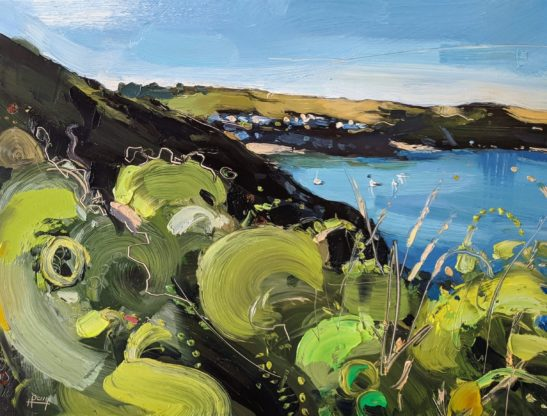 Evening Above Gorran Haven 22 x 30 cm oil on board