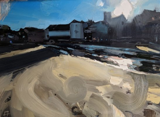 Gorran Haven shadows 22 x 30 cm oil on board