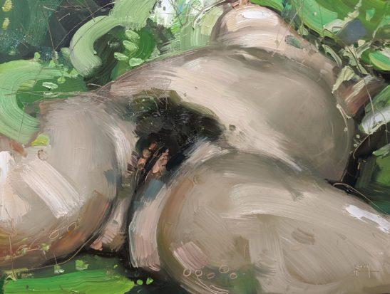 LOrigin du Monde in la Forêt de Huelgoat 22 x 30 cm oil n board