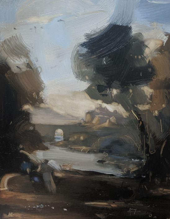 Landscape with Hagar and the Angel 22 x 30 cm oil on board