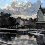 Le Miroir dEau Nantes 210 x 100 cm oil on board