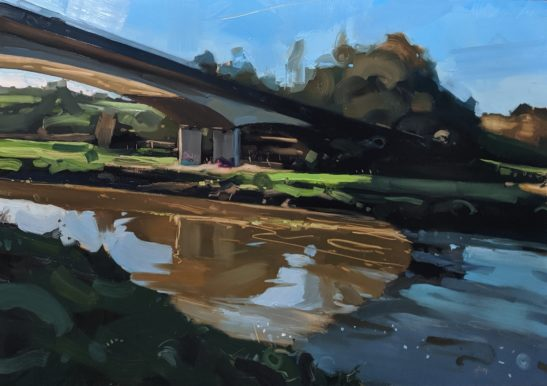 Light and Shadows on the River Taw 100 x 70 cm oil on board