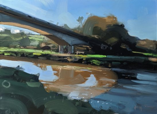 Light and Shadows on the river Taw 22 x 30 cm oil on board