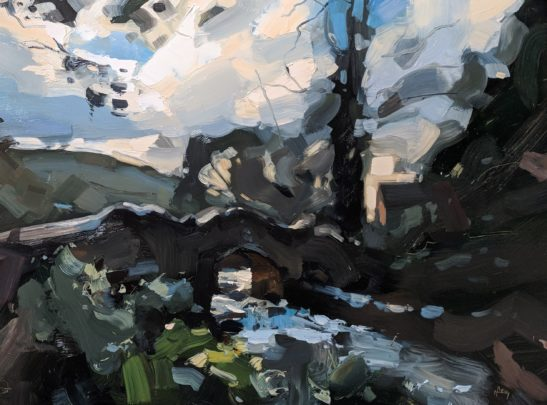 Lovers Bridge Dunster Castle 46 x 61 cm oil on board