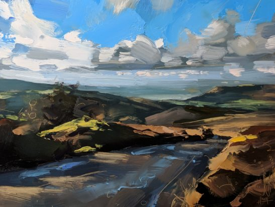Porlock from Dunkery 22 x 30 cm oil on board
