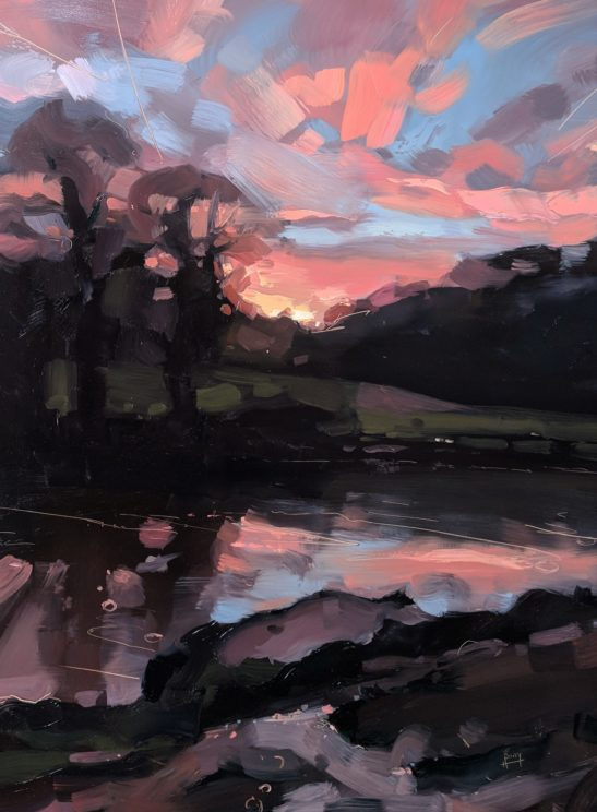 Red Sky over the River Taw 46 x 61 cm oil on board