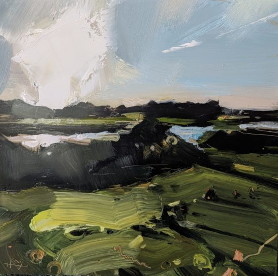 River Taw Evening 20 x 20 cm oil on board