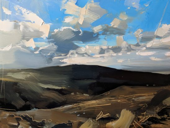 Snow Clouds Approaching Dunkery 22 x 30 cm oil on board