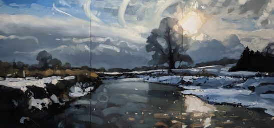 Snowy Walk 100 x 210 cm oil on board