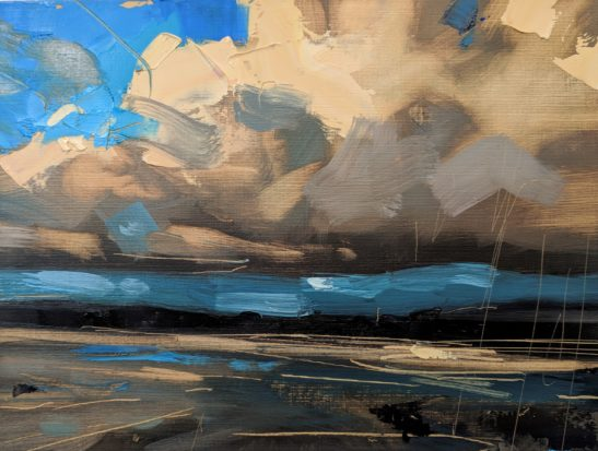 Study for Windy Evening Instow 29 x 22 cm oil on paper