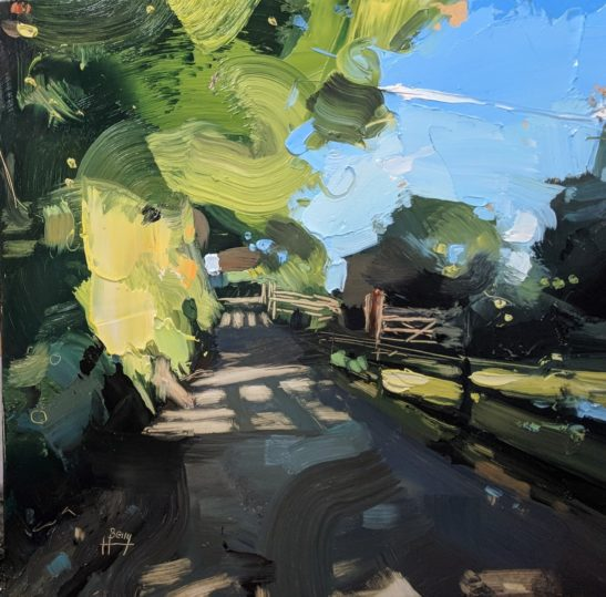 The Tarka Trail at Bishops Tawton 20 x 20 cm oil on board
