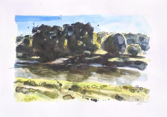 River Taw 29 x 42cm watercolour