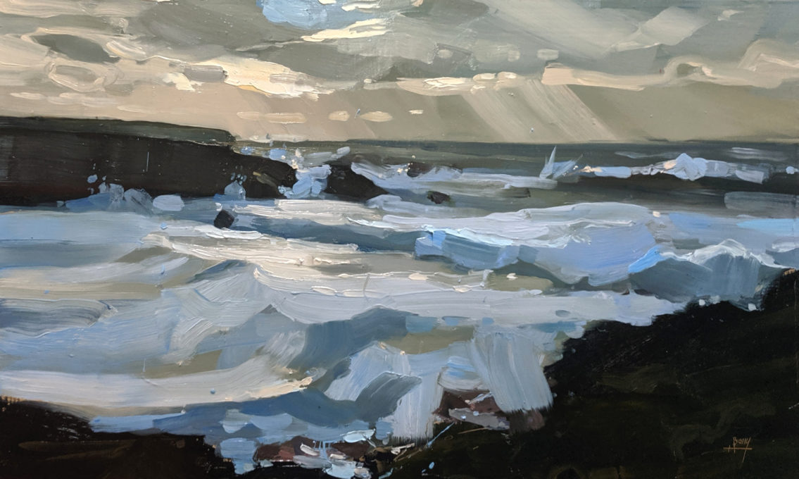 BIg waves at Porthcothan 30 x 50 cm oil on board