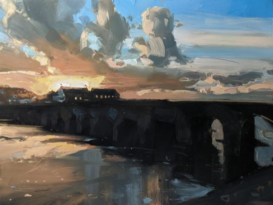 Barnstaple Long Bridge 46 x 61 cm oil on board