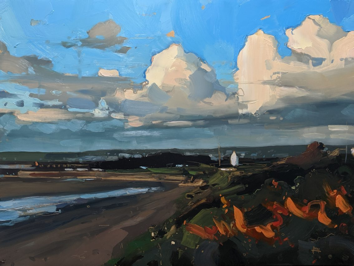 Sea Buckthorn and Storm Clouds Instow 46 x 61 cm oil on board