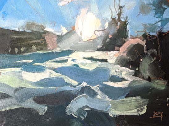 Frost and Sun 11.5 x 16.5 cm oil on paper