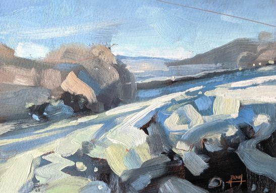 Frosty Field 11.5 x 16.5 cm oil on paper