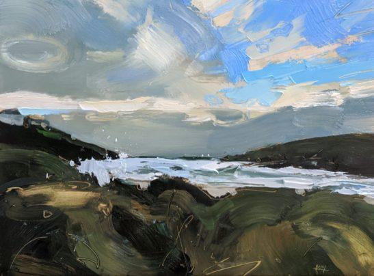 Porthcothan Beach 22 x 30 cm oil on board
