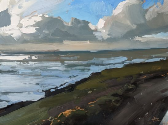 Saunton from the Croude Road 22 x 30 cm oil on board
