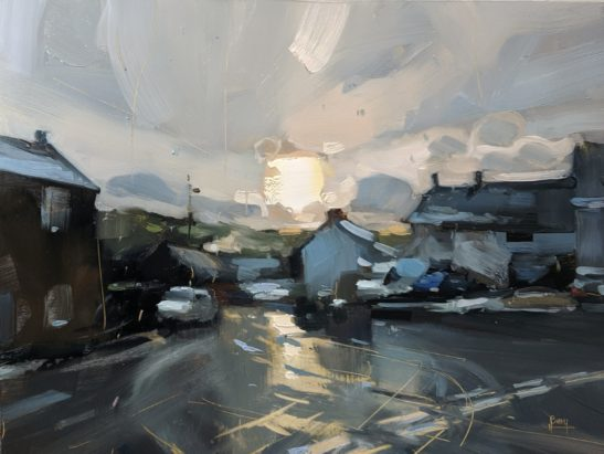 Snow and Sleet on New Years Eve North Molton 22 x 30 cm oil on board