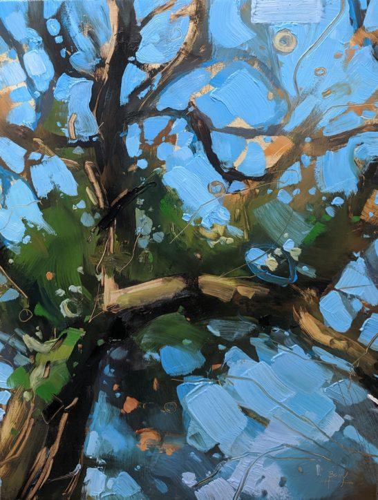 Sunny Tree on a Green Lane 22 x 30cm oil on board