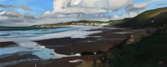 Woolacombe from Puttsborough 20 x 50 cm oil on board