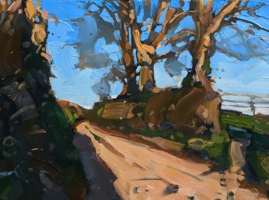 Goodleigh Golden Green Lane 22 x 20 cm oil on board