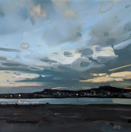 Instow Dusk 20 x 20 cm oil on board