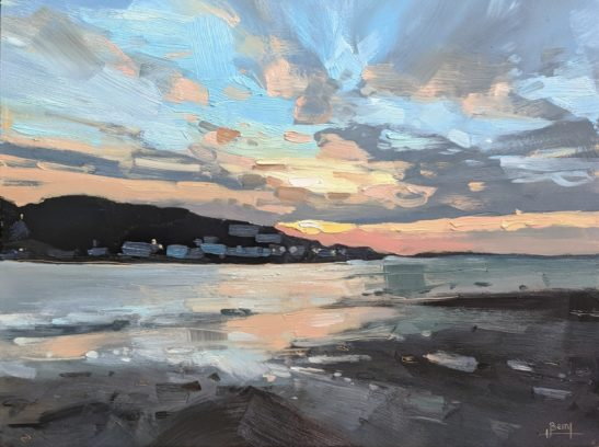 Instow Red Sky 22 x 30 cm oil on board