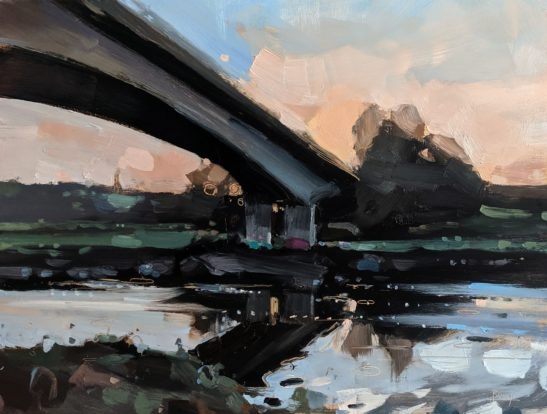 River Taw 22 x 20 cm oil on board