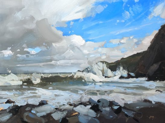 Stormy Sea at Woody Bay 46 x 61 cm oil on board