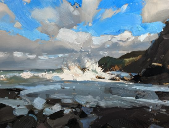 Woody Bay Beach 22 x 20 cm oil on board