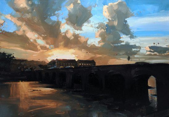 Barnstaple Long Bridge 100 x 70 cm oil on board
